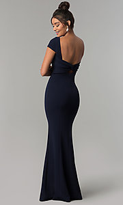Image of long navy short-sleeve prom dress with open back. Style: MT-8880 Detail Image 4