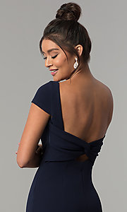 Image of long navy short-sleeve prom dress with open back. Style: MT-8880 Detail Image 6