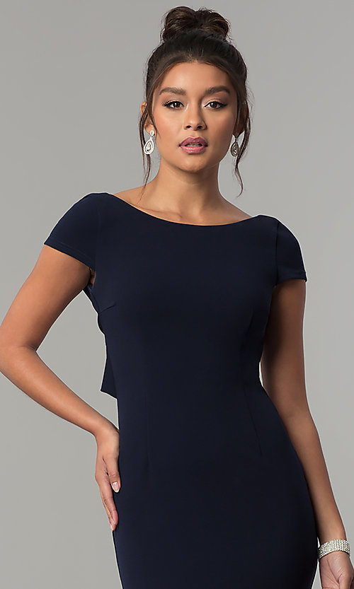 Image of long navy short-sleeve prom dress with open back. Style: MT-8880 Detail Image 5