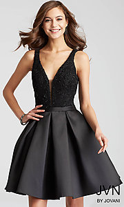 Short V-Back Box-Pleated Fit-and-Flare Homecoming Dress