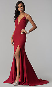 Image of deep-v-neck mermaid Terani prom dress with train. Style: TI-GL-1712P2498 Detail Image 3