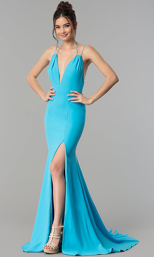 Image of deep-v-neck mermaid Terani prom dress with train. Style: TI-GL-1712P2498 Front Image