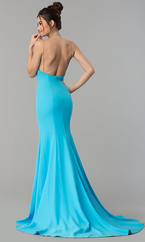 Image of deep-v-neck mermaid Terani prom dress with train. Style: TI-GL-1712P2498 Back Image