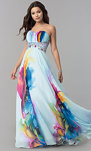 Image of long strapless print prom dress by Dave & Johnny. Style: DJ-3362 Front Image