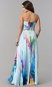 Image of long strapless print prom dress by Dave & Johnny. Style: DJ-3362 Back Image