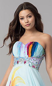 Image of long strapless print prom dress by Dave & Johnny. Style: DJ-3362 Detail Image 1