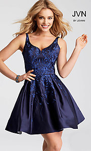 Short Embroidered V-Neck Fit-and-Flare Homecoming Dress