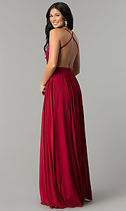 Image of long burgundy red prom dress with embroidered bodice. Style: DQ-9850 Back Image