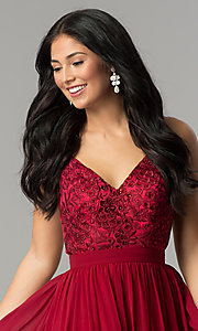 Image of long burgundy red prom dress with embroidered bodice. Style: DQ-9850 Detail Image 1