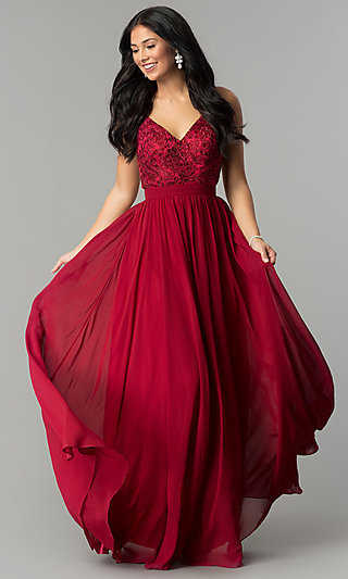 Long Burgundy Red Prom Dress with Embroidered Bodice