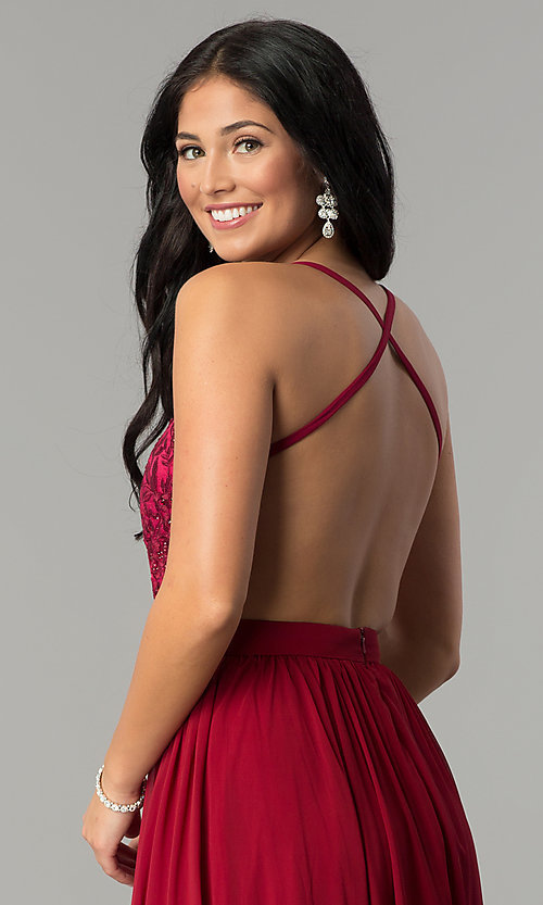 Image of long burgundy red prom dress with embroidered bodice. Style: DQ-9850 Detail Image 2