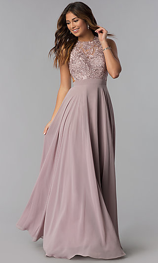 fd938046be Long Burgundy High-Neck Prom Dress with Embroidery