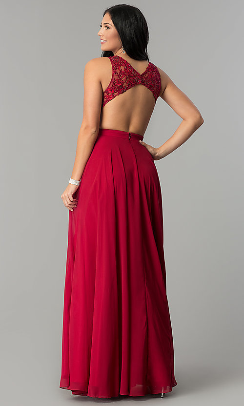 Image of long burgundy high-neck prom dress with embroidery. Style: DQ-9851 Back Image