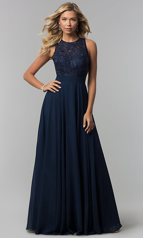Image of long burgundy high-neck prom dress with embroidery. Style: DQ-9851 Detail Image 3