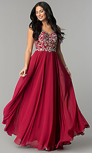 Image of long v-neck chiffon beaded-bodice a-line prom dress. Style: DQ-2216 Front Image