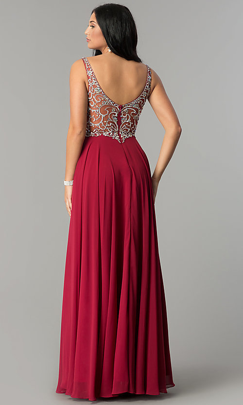 Image of long v-neck chiffon beaded-bodice a-line prom dress. Style: DQ-2216 Back Image