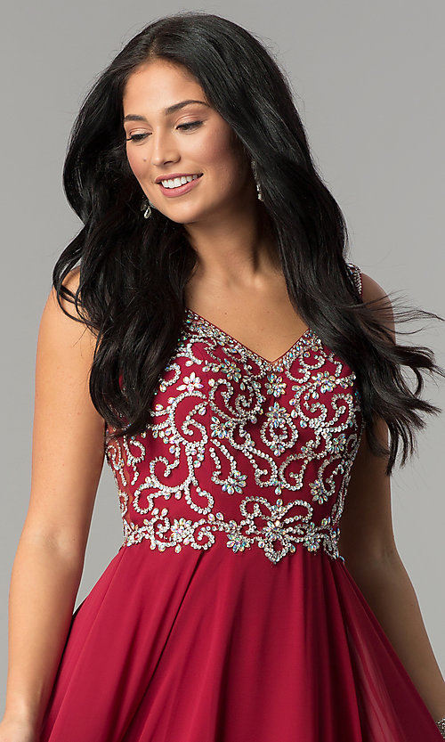 Image of long v-neck chiffon beaded-bodice a-line prom dress. Style: DQ-2216 Detail Image 1