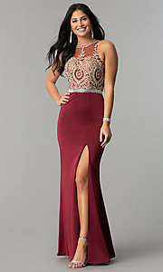 Image of burgundy red long prom dress with gold lace applique. Style: DQ-9702-G Front Image