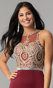 Image of burgundy red long prom dress with gold lace applique. Style: DQ-9702-G Detail Image 1