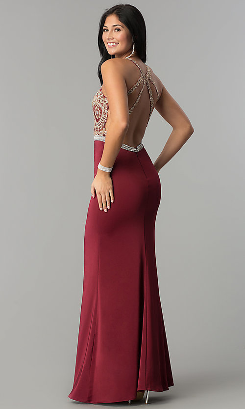 Image of burgundy red long prom dress with gold lace applique. Style: DQ-9702-G Back Image