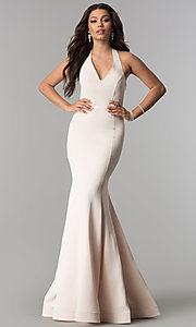 Image of long v-neck halter prom dress with ruffle and beads. Style: OD-4402 Back Image