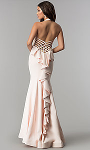 Long V-Neck Halter Prom Dress with Ruffle and Beads