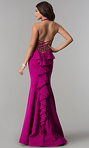 Image of long v-neck halter prom dress with ruffle and beads. Style: OD-4402 Detail Image 1