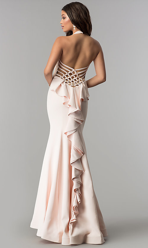Image of long v-neck halter prom dress with ruffle and beads. Style: OD-4402 Front Image