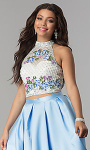 Image of two-piece mock-neck formal dress with embroidery. Style: OD-4676 Detail Image 2