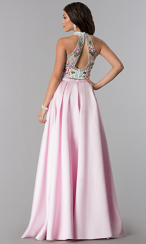 Image of two-piece mock-neck formal dress with embroidery. Style: OD-4676 Back Image