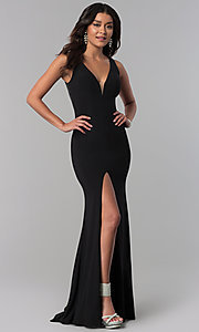 V-Neck Prom Dress with Lace Sequined Back
