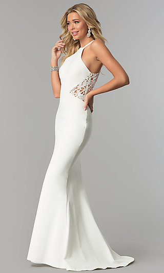 Long Racer-Neck Prom Dress with Embroidered Back