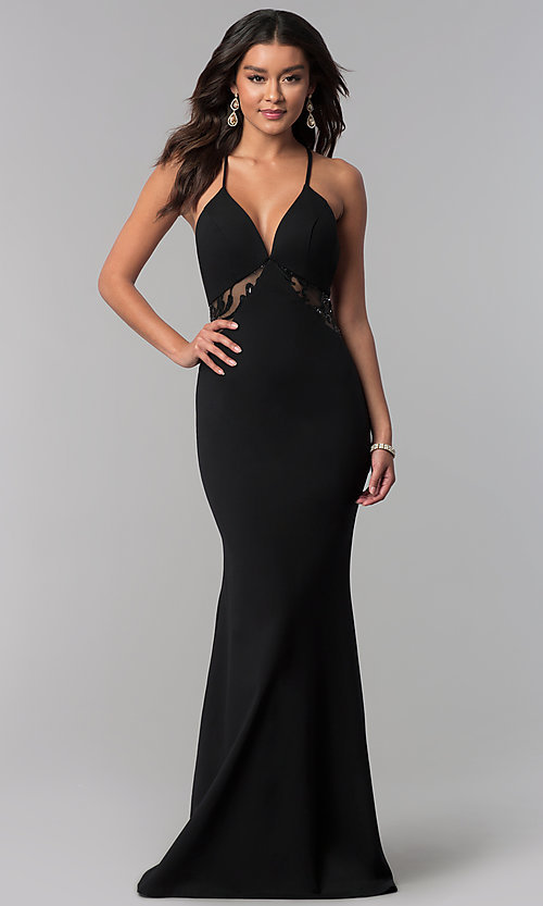 Image of long illusion-racerback prom dress by Zoey Grey. Style: ZG-31129 Front Image