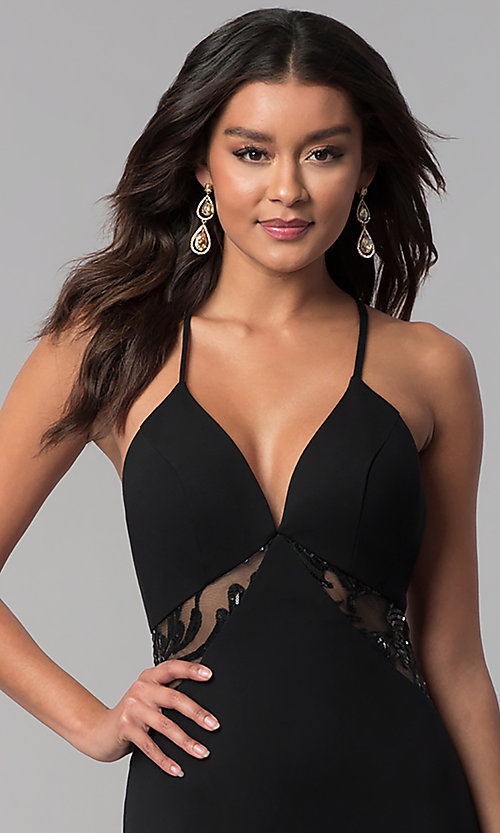 Image of long illusion-racerback prom dress by Zoey Grey. Style: ZG-31129 Detail Image 1