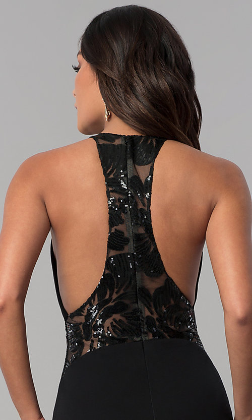 Image of long illusion-racerback prom dress by Zoey Grey. Style: ZG-31129 Detail Image 2
