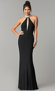 Long Racer-Neck Prom Dress with an Illusion Keyhole Inset