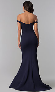 Image of long off-the-shoulder Zoey Grey prom dress.  Style: ZG-31140 Back Image