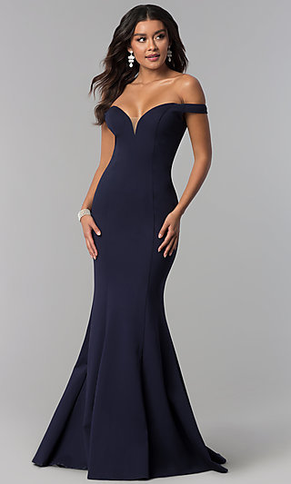 Long Off-the-Shoulder Zoey Grey Prom Dress