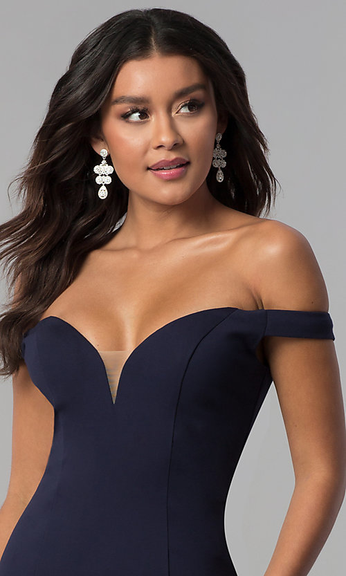 Image of long off-the-shoulder Zoey Grey prom dress.  Style: ZG-31140 Detail Image 1