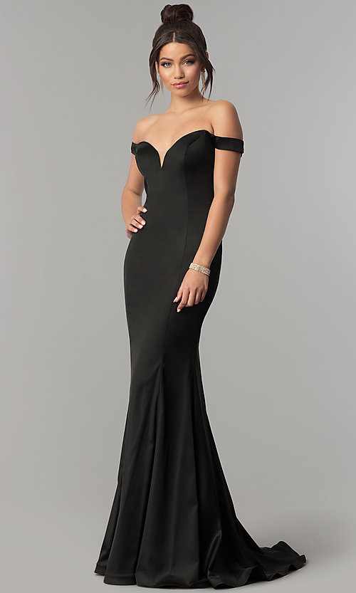 bd143abb0b2c44 Image of off-the-shoulder satin long sweetheart prom dress. Style: ZG