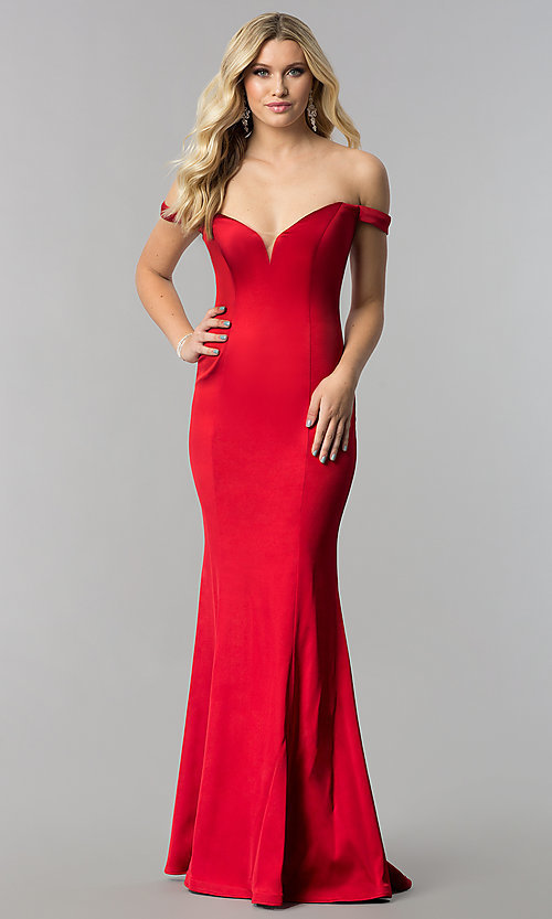 Image of off-the-shoulder satin long sweetheart prom dress. Style: ZG-31141 Detail Image 1