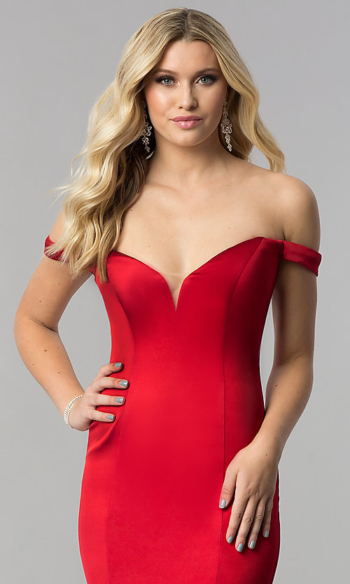 Image of off-the-shoulder satin long sweetheart prom dress. Style: ZG-31141 Detail Image 2