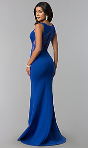 Image of v-neck long prom dress with illusion-lace insets. Style: ZG-31145 Back Image