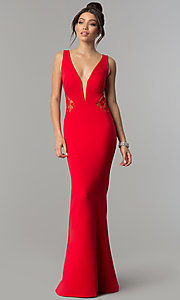 Image of v-neck long prom dress with illusion-lace insets. Style: ZG-31145 Detail Image 3