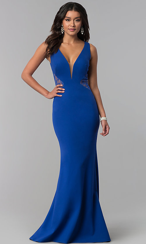 Image of v-neck long prom dress with illusion-lace insets. Style: ZG-31145 Front Image