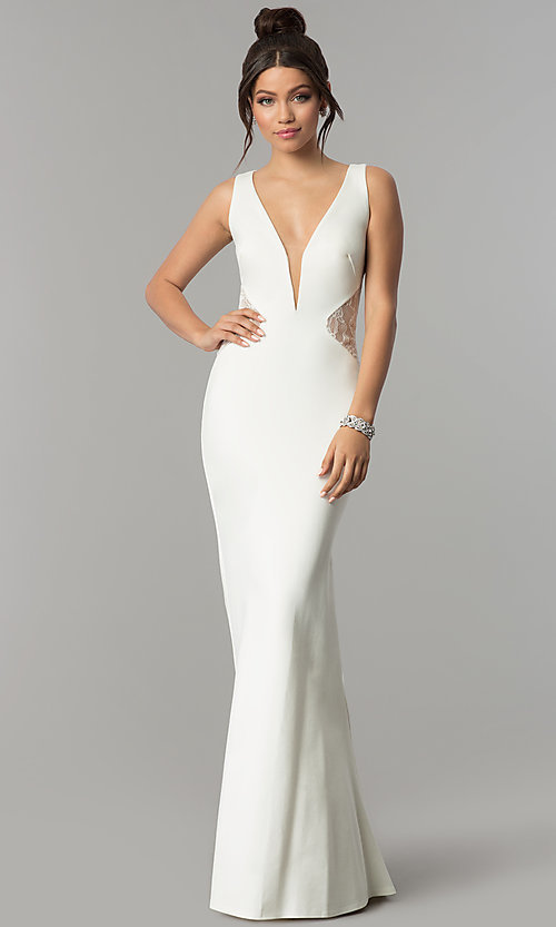 Image of v-neck long prom dress with illusion-lace insets. Style: ZG-31145 Detail Image 2