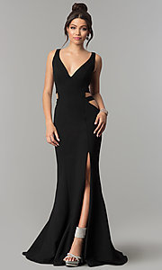 Image of mermaid long prom dress with cut-out sides and train. Style: ZG-31149 Detail Image 3