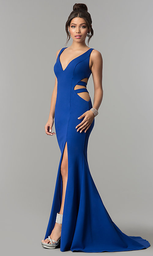 Image of mermaid long prom dress with cut-out sides and train. Style: ZG-31149 Front Image