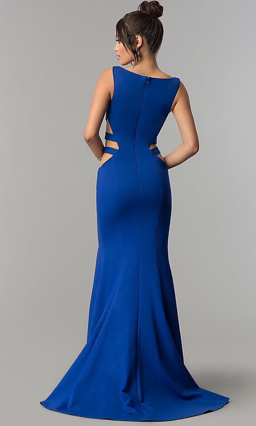 Image of mermaid long prom dress with cut-out sides and train. Style: ZG-31149 Back Image