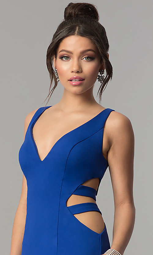 Image of mermaid long prom dress with cut-out sides and train. Style: ZG-31149 Detail Image 1